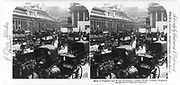 Bank of England and Royal Exchange, Jubilee Week, London, England. Horse-drawn vehicles filling streets in course of Jubilee celebration. stereograph c1897.