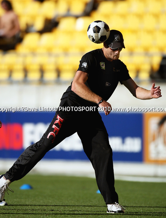 Martin Guptill shows off his footballing skills.<br /> 1st Twenty20 cricket match - New Zealand v Australia at Westpac Stadium, Wellington. Friday, 26 February 2010. Photo: Dave Lintott/PHOTOSPORT