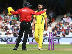 June 13, 2018 - London, England, United Kingdom - Andrew Tye of Australia not happy with the Umpire.during One Day International Series match between England and Australia at Kia Oval Ground, London, England on 13 June 2018. (Credit Image: © Kieran Galvin/NurPhoto via ZUMA Press)