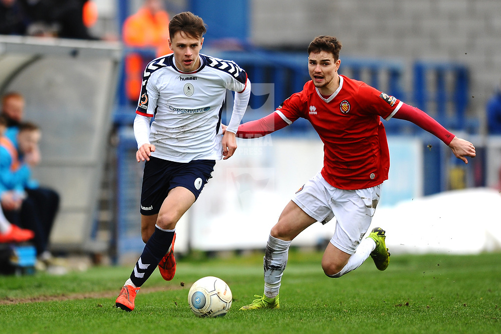 TELFORD COPYRIGHT MIKE SHERIDAN 9/3/2019 - Ryan Barnett of AFC Telford (on loan from Shrewsbury Town Football Club) sprints clear during the National League North fixture between AFC Telford United and FC United of Manchester (FCUM) at the New Bucks Head Stadium