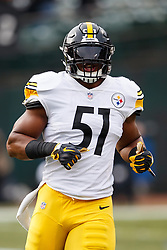 OAKLAND, CA - DECEMBER 09: Linebacker Jon Bostic #51 of the Pittsburgh Steelers warms up before the game against the Oakland Raiders at the Oakland Coliseum on December 9, 2018 in Oakland, California. The Oakland Raiders defeated the Pittsburgh Steelers 24-21. (Photo by Jason O. Watson/Getty Images) *** Local Caption *** Jon Bostic