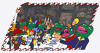 A group of frogs are sitting around a festively decorated table full of food and wine and are having a fun time.  They are all dressed in party clothes and have masks in their hands of human faces.  A cartoon illustration.