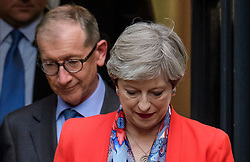 © Licensed to London News Pictures. 09/06/2017. London, UK. Leader of the conservative party THERESA MAY and her husband PHILIP MAY are seen leaving Conservative Party headquarters on the morning of the general election results. Photo credit: Ben Cawthra/LNP