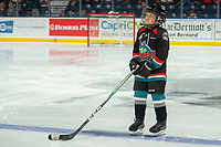 KELOWNA, BC - OCTOBER 16: The minor hockey player of the game lines up on the blue line at the Kelowna Rockets against the Swift Current Broncos  at Prospera Place on October 16, 2019 in Kelowna, Canada. (Photo by Marissa Baecker/Shoot the Breeze)