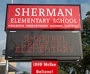 Exterior views of new Sherman Elementary School, October 29, 2013.