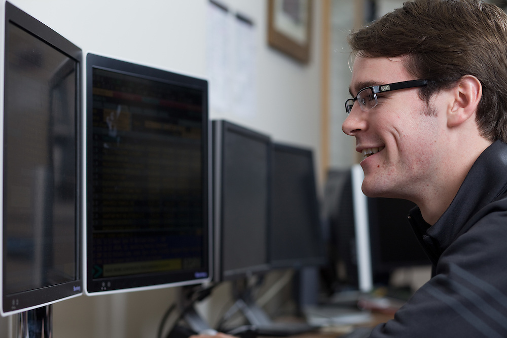 College of Business student Cullen Challacombe uses the Bloomberg Terminal Computer at Ohio University in Athens, Ohio on Tuesday, November 5, 2013. Photo by Chris Franz