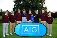 Dermot Rollins of Rollins Insurance Brokers (AIG) and John White Ulster Golf present the pennant to Malone Team Captain  after the AIG Junipr Cup Ulster Fianl in Lisburn Golf Club, Lisburn, Down, Northern Ireland. 31/08/2019.<br /> Picture Fran Caffrey / Golffile.ie<br /> <br /> All photo usage must carry mandatory copyright credit (© Golffile | Fran Caffrey)<br /> <br /> Team: Marco Deane, Ben Connolly, Jamie Thompson, Luke O'Sullivan, Fionn Dobbin,