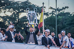 Members of the Real Madrid soccer team gathered at Cibeles Square in Madrid, Spain to celebrate their victory in the Champions League final one night earlier. 04 Jun 2017 Pictured: Sergio Ramos raising the cup of Europe Champions league in the square cibeles in Madrid. Photo credit: http://report.newzulu.com/en/reporter-photo-video / MEGA TheMegaAgency.com +1 888 505 6342