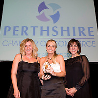 Perthshire Chamber of Commerce Awards 2008, Crieff Hydro....<br /> Laura Bell (left) from Highland Spring and Shereen Nanjiani present the Customer Service Award to Tracy McCafferty of The Famous Grouse Experience<br /> Picture by Graeme Hart.<br /> Copyright Perthshire Picture Agency<br /> Tel: 01738 623350  Mobile: 07990 594431