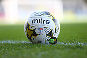 Kick it out sticker on football during the EFL Sky Bet League 1 match between Burton Albion and Barnsley at the Pirelli Stadium, Burton upon Trent, England on 6 April 2019.