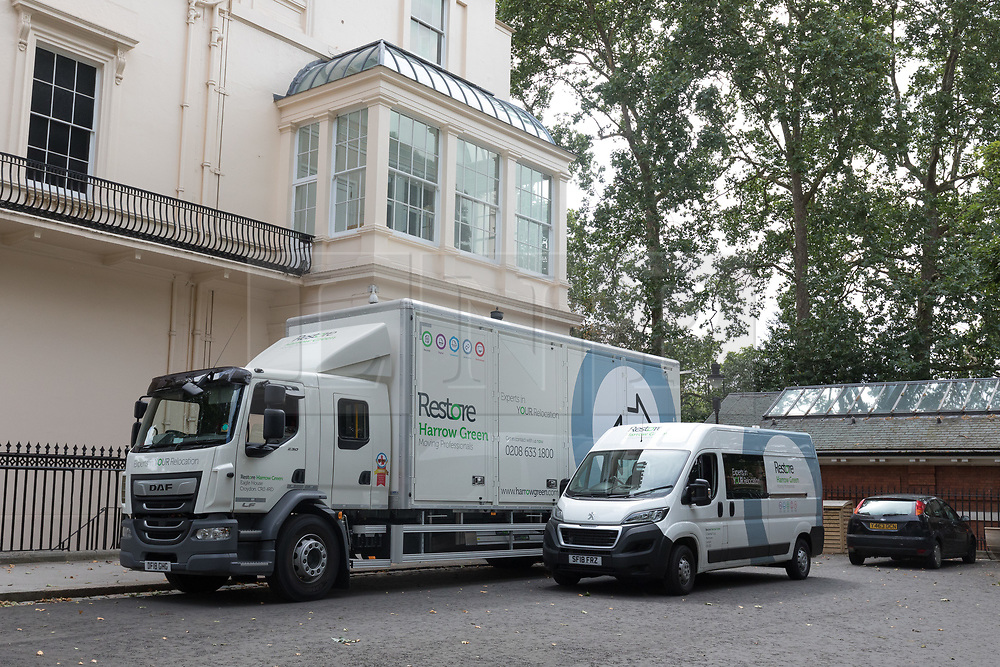 © Licensed to London News Pictures. 30/07/2018. London, UK.  Removal vans outside the Foreign Secretary's official residence at Carlton Gardens in central London where the former Foreign Secretary, Boris Johnson is moving out following his resignation.  Photo credit: Vickie Flores/LNP