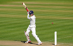 Durham's Keaton Jennings flicks the ball off the bowling of Somerset's Peter Trego. - Photo mandatory by-line: Harry Trump/JMP - Mobile: 07966 386802 - 14/04/15 - SPORT - CRICKET - LVCC County Championship - Day 3 - Somerset v Durham - The County Ground, Taunton, England.