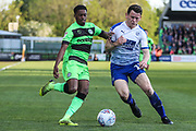 Forest Green Rovers Reece Brown(10) and Tranmere Rovers Connor Jennings(11) during the EFL Sky Bet League 2 second leg Play Off match between Forest Green Rovers and Tranmere Rovers at the New Lawn, Forest Green, United Kingdom on 13 May 2019.