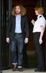 Justin Lee Collins leaves St Albans Crown Court after being found guilty of harassing his former girlfriend, Tuesday, 9th October 2012.  Photo by: i-Images