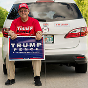 SEPTEMBER 19, 2016--- BOCA RATON, FLORIDA<br /> Ted Seymour, a 77 year old retired Brittish born Donald Trump supporter, with Trump/Pence campaign paraphernalia in front of  his Boca Raton home.<br /> (Photo by Angel Valentin/Freelance)