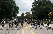AUGUST 26, 2018  ATHENS, OHIO:<br /> The Ohio University Marching 110 dances as there perform and play leading the new freshman class at Ohio University up the Richland Avenue to College Green after attending the freshman convocation at the Convocation Center on August 26, 2018 in Athens, Ohio.