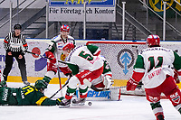 2019-12-02 | Umeå, Sweden: Björklöven (13) Fredric Andersson  tries to make a goal in a dfferent way in HockeyAllsvenskan during the game  between Björklöven and Mora at A3 Arena ( Photo by: Michael Lundström | Swe Press Photo )<br /> <br /> Keywords: Umeå, Hockey, HockeyAllsvenskan, A3 Arena, Björklöven, Mora, mlbm191202