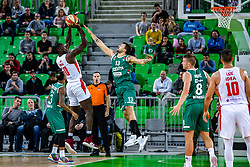Michael Ojo of KK Crvena Zvezda MTS and Andrija Stipanovic of KK Cedevita Olimpija during ABA basketball league round 9 match between teams KK Cedevita Olimpija and KK Crvena Zvezda MTS in Arena Stozice, 1. December, Ljubljana, Slovenia. Photo by Grega Valancic / Sportida