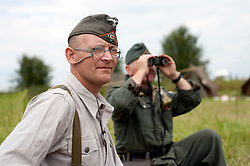 German infantry keep watch from thier front-line positions during the Ponderosa Wartime Weekend Heckmondwike<br /> 10th July 2011<br /> Image &copy; Paul David Drabble