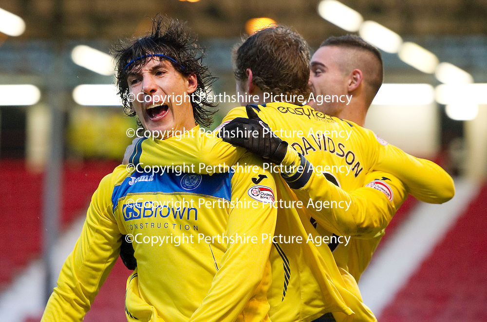 Dunfermline v St Johnstone..24.12.11   SPL <br /> Fran Sandaza celebrates his goal with Murray Davidson and Marcus Haber<br /> Picture by Graeme Hart.<br /> Copyright Perthshire Picture Agency<br /> Tel: 01738 623350  Mobile: 07990 594431