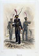 Marine. From 'Napoleon 1er et la Garde Imperiale' by Eugene Fieffe, Paris, 1858.