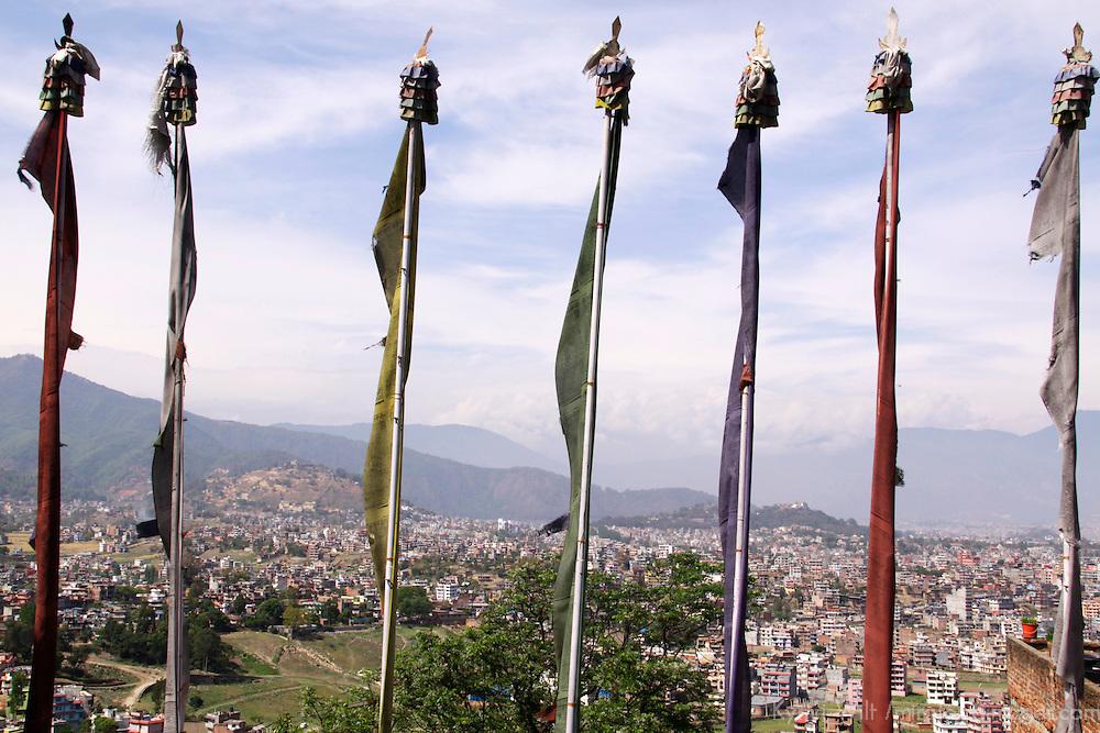 Asia, Nepal, Kathmandu. Prayer Flags over Kathmandu.