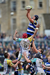 Tom Ellis of Bath Rugby rises high to win lineout ball - Photo mandatory by-line: Patrick Khachfe/JMP - Mobile: 07966 386802 07/02/2015 - SPORT - RUGBY UNION - Bath - The Recreation Ground - Bath Rugby v Ospreys - LV= Cup