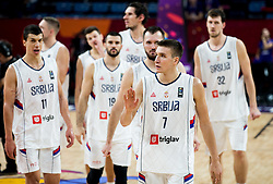 Bogdan Bogdanovic of Serbia and other players celebrate after winning during basketball match between National Teams of Serbia and Hungary at Day 11 in Round of 16 of the FIBA EuroBasket 2017 at Sinan Erdem Dome in Istanbul, Turkey on September 10, 2017. Photo by Vid Ponikvar / Sportida