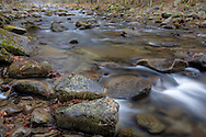 River flows through boulders, creating small cascades, Great Smoky Mountains National Park