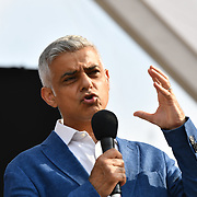 Speaker Sadiq Khan is the Mayor of London at the BMW Classics + live streamed on YouTube in Trafalgar Square on a hot weather in London, UK on July 1st 2018.