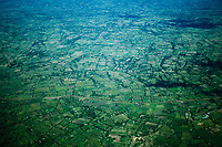 An aerial view of green fields in Kenya.
