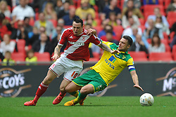 Norwich Skipper Russell Martin takes out Lee Tomlin Middlesbrough, Middlesbrough v Norwich, Sky Bet Championship, Play Off Final, Wembley Stadium, Monday  25th May 2015