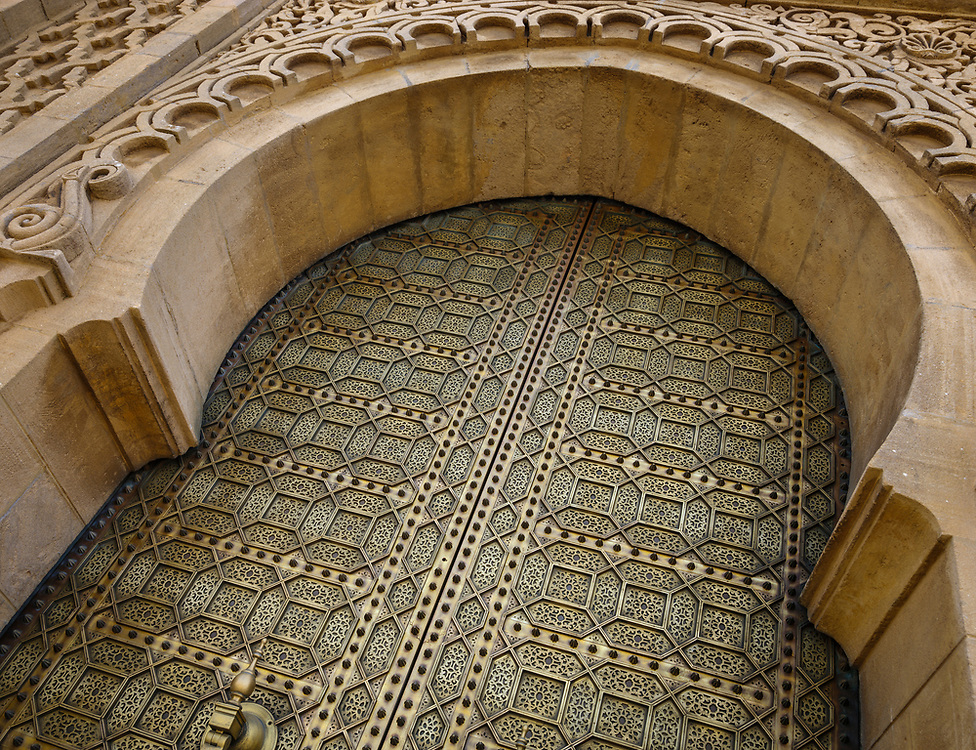 RABAT, MOROCCO - CIRCA APRIL 2017: Detail of exterior door at the Mausoleum of Mohammed V in Rabat.