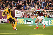 Burnley defender Stephen Ward (23) goes past Arsenal defender Hector Bellerin (24)  during the Premier League match between Burnley and Arsenal at Turf Moor, Burnley, England on 2 October 2016. Photo by Simon Davies.