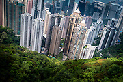 China, Hong Kong<br /> A view from the Sky Terrace on top of Victoria Peak.  the 'concrete jungle' that constitutes the entanglement of buildings on May 01, 2018 in Hong-Kong, China. The former British territory is the city with the most skyscrapers in the world.