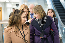"© Licensed to London News Pictures . 01/03/2014 . London , UK . Jack Dromey (c) and Harriet Harman (r) arrive ahead of the conference . The Labour Party hold a one day "" Special Conference "" at the Excel Centre in London today (Saturday 1st March 2014) . Photo credit : Joel Goodman/LNP"