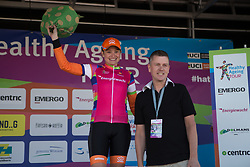 Roxanne Knetemann (NED) of Team NL won the Most Combatative Rider's purple jersey on Stage 5 of the Healthy Ageing Tour - a 117.9 km road race, starting and finishing in Borkum on April 9, 2017, in Groeningen, Netherlands.