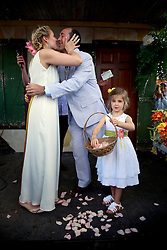 05 May 2013. New Orleans, Louisiana,  USA. .New Orleans Jazz and Heritage Festival. JazzFest..Many congratulations to Matthew Goldman and Elise Gallinot at their wedding with daughter Olive, family and friends..Photo; Charlie Varley.