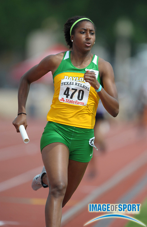 Mar 30, 2012; Austin, TX, USA; Raena Rhone runs the anchor leg on the Baylor women's 4 x 400m relay that won its heat in 3:37.53 in the 85th Clyde Littlefield Texas Relays at Mike A. Myers Stadium.