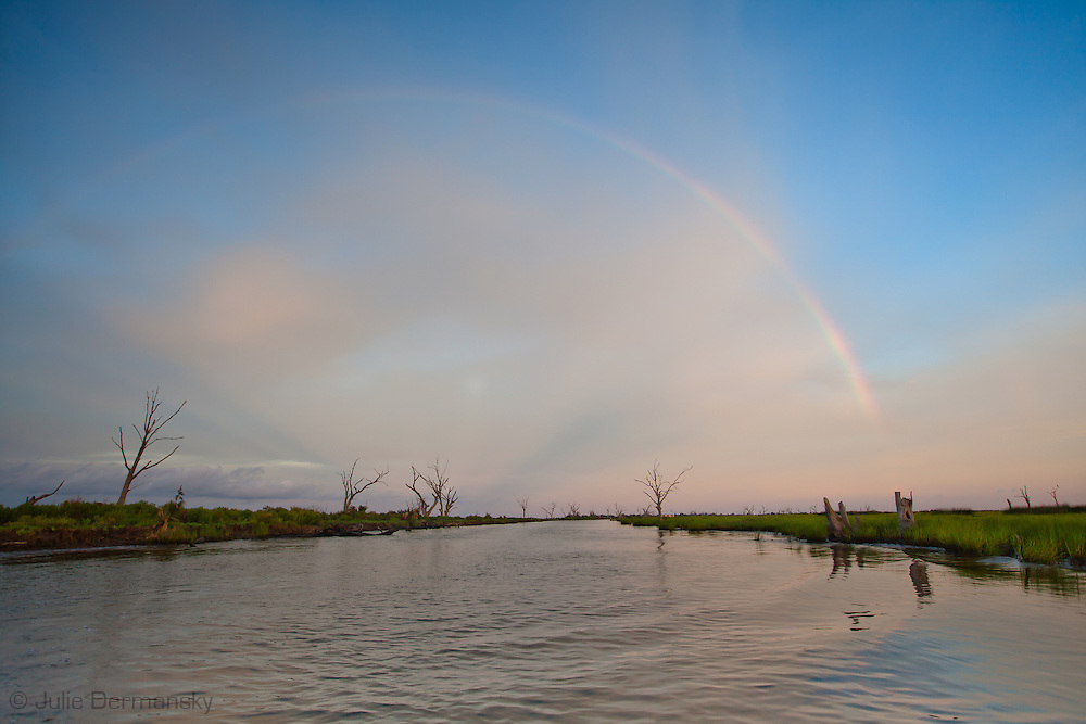 Rainbow on the shore of Bayou Pointe auChien