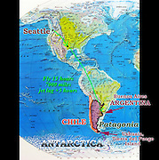 "A map of North and South America shows our flight from Seattle 7000 miles (through Dallas/Fort Worth, Texas) to Buenos Aires, taking 15 hours in the air. Argentina is plus 5 hours jet lag from Pacific Standard Time (West Coast, USA). Our adventure travel in Argentina and Chile lasted from February 3 to March 11, 2005. We flew 1500 miles from Buenos Aires to Ushuaia, on the Argentina side of the island archipelago of Tierra del Fuego. We cruised 12 days round trip through the Beagle Channel and across the rough 400-mile Drake Passage to explore the frozen Antarctic Peninsula. A short airplane flight took us from Ushuaia to working-class Punta Arenas in Chile, where a hired van drove us to the tourist town of Puerto Natales. We hiked the W Route to admire striking mountain scenery in Torres del Paine National Park, Chile. We bused into Argentina to the bustling tourist town of El Calafate, where day rental of a car let us visit the spectacular Moreno Glacier on our own schedule. A bus took us to the fun frontier village of El Chalten where several day hikes explored the awesome Mount Fitz Roy area. A flight from El Calafate returned to Buenos Aires. In Chile, Patagonia includes the territory of Valdivia through Tierra del Fuego archipelago. Spanning both Argentina and Chile, the foot of South America is known as Patagonia, a name derived from coastal giants (""Patagão"" or ""Patagoni"" who were actually Tehuelche native people who averaged 25 cm taller than the Spaniards) who were reported by Magellan's 1520s voyage circumnavigating the world."