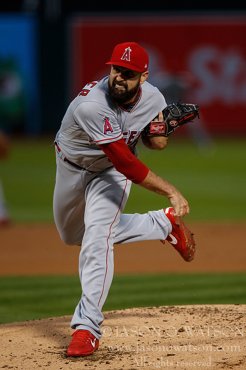 OAKLAND, CA - APRIL 04:  Matt Shoemaker #52 of the Los Angeles Angels of Anaheim pitches against the Oakland Athletics during the first inning at the Oakland Coliseum on April 4, 2017 in Oakland, California. The Los Angeles Angels of Anaheim defeated the Oakland Athletics 7-6. (Photo by Jason O. Watson/Getty Images) *** Local Caption *** Matt Shoemaker