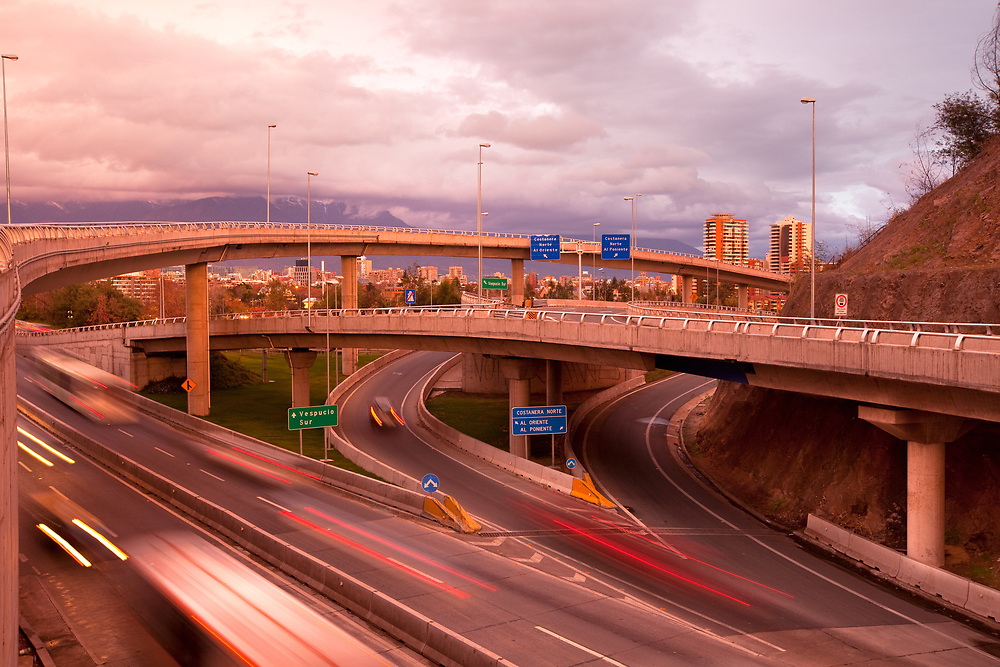 Freeways intersection at Vitacura district in Santiago de Chile