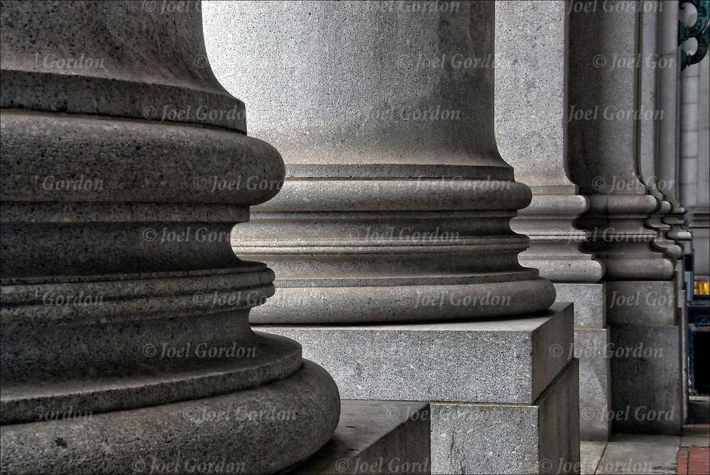Manhattan Municipal Building at 1 Center Street, Beaux-Arts architectural details of  columns.