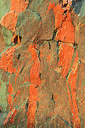 Iron oxides in rock across from Fungus Lake<br /> West of Wawa<br /> Ontario<br /> Canada