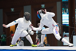 JAKARTA, Aug. 19, 2018  Alexanin Dmitriy (L) of Kazakhstan vies with Park Sangyoung of South Korea during the Men's Epee Individual Gold Medal Bout of the 18th Asian Games in Jakarta, Indonesia, Aug. 19, 2018. (Credit Image: © Zhu Wei/Xinhua via ZUMA Wire)