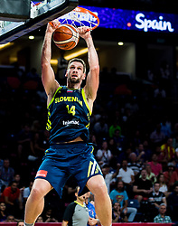 Gasper Vidmar of Slovenia dunks during basketball match between National Teams of Slovenia and Spain at Day 15 in Semifinal of the FIBA EuroBasket 2017 at Sinan Erdem Dome in Istanbul, Turkey on September 14, 2017. Photo by Vid Ponikvar / Sportida