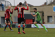 George Francomb of AFC Wimbledon scores for AFC Wimbledon and makes it 2-1 during the Sky Bet League 2 match between Morecambe and AFC Wimbledon at the Globe Arena, Morecambe, England on 12 March 2016. Photo by Stuart Butcher.