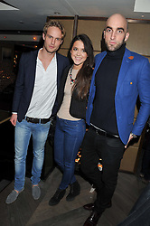 Left to right, JACK FOX, ANNA-LOUISE DOWNMAN and DRUMMOND MONEY-COUTTS at the Beulah AW13 Showcase, Bungalow 8 LFW Pop-Up at Belgraves - A Thompson Hotel, 20 Chesham Place, London SW1 on 13th February 2013.