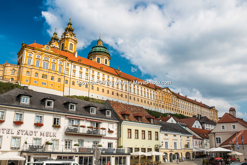 Melk, Danube, Lower Austria, September 2015. Stift Melk is a Benedictine abbey above the town of Melk. Austria's most spectacular section of the Danube is the dramatic stretch of river between Krems an der Donau and Melk, known as the Wachau. Here the landscape is characterised by vineyards, forested slopes, wine-producing villages and imposing fortresses at nearly every bend. The Wachau is today a Unesco World Heritage site, due to its harmonious blend of natural and cultural beauty. Photo by Frits Meyst / MeystPhoto.com